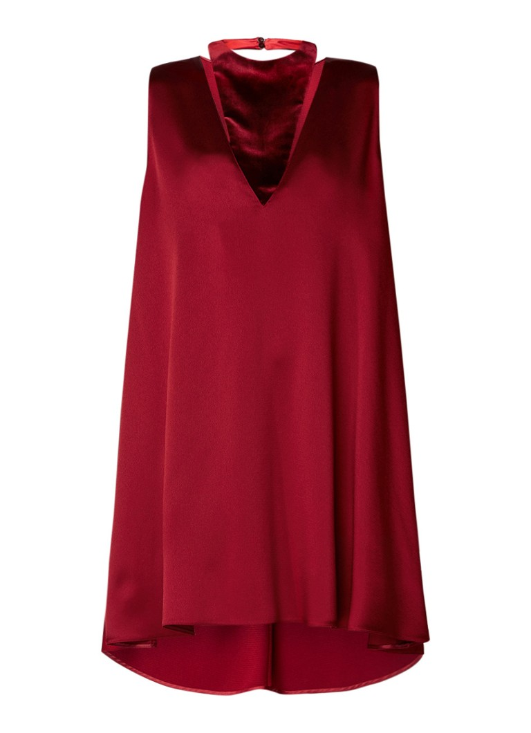 Valentino hammered A-lijn jurk donkerrood