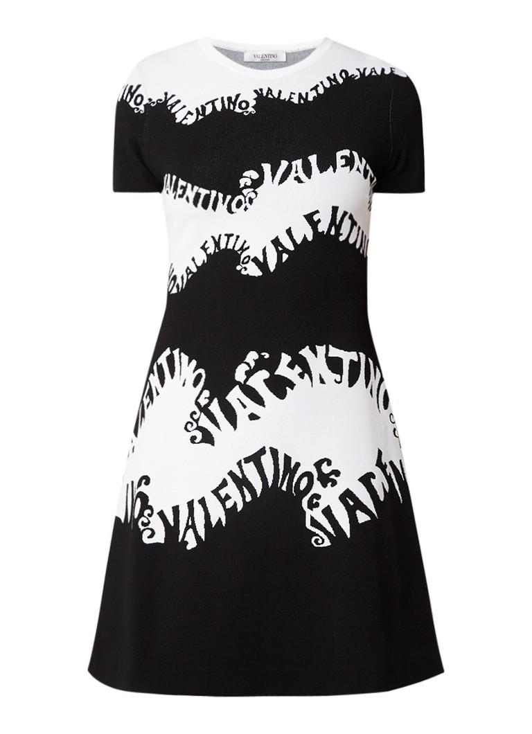Valentino Wave Logo A-lijn jurk met logoprint zwart