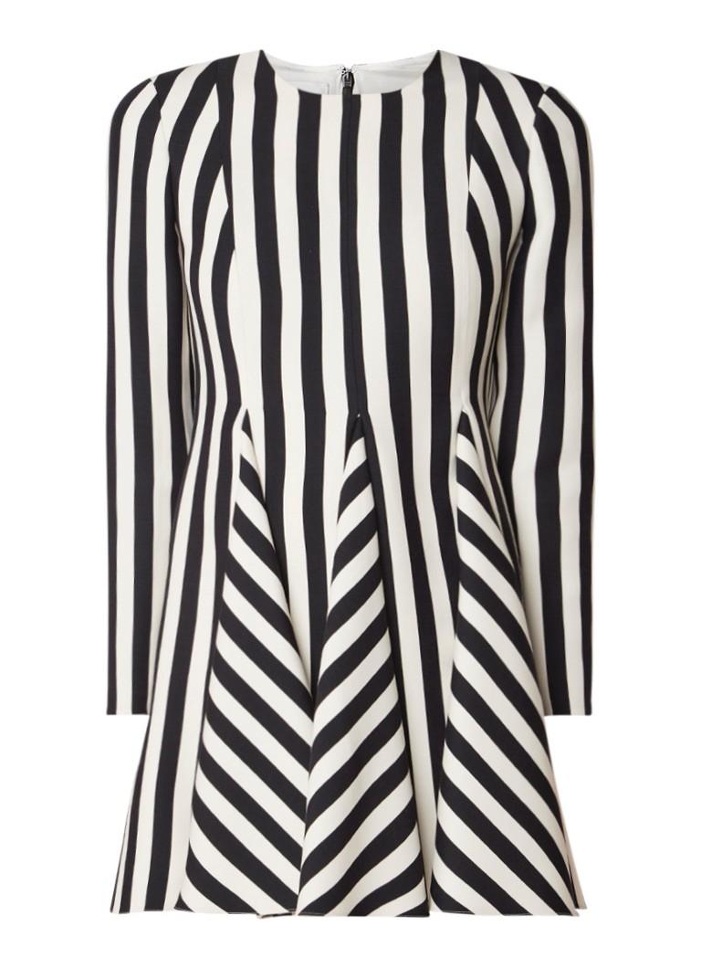 Valentino A-lijn jurk in wolblend met streepdessin zwart
