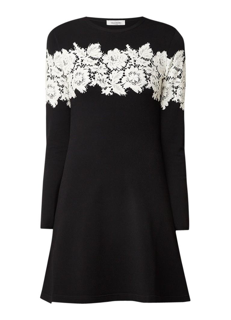 Valentino Heavy Lace A-lijn jurk met kanten details zwart