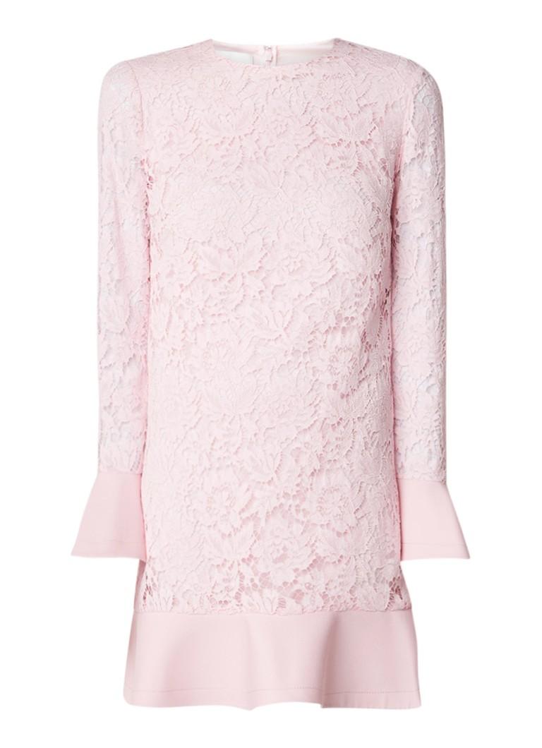 Valentino A-lijn jurk van gebloemd kant met volant lichtroze