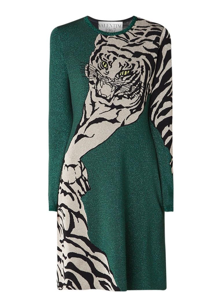 Valentino A-lijn jurk met tijgerdessin en lurex flessengroen