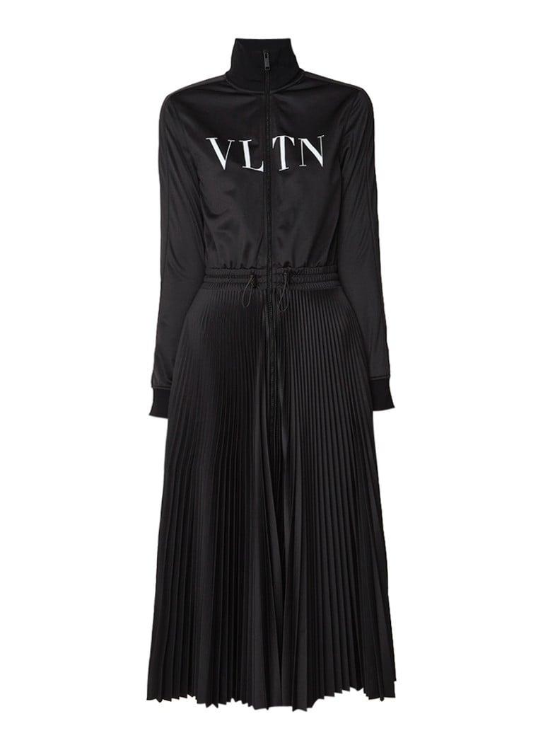 Valentino Sweatdress met plissé en logo opdruk zwart