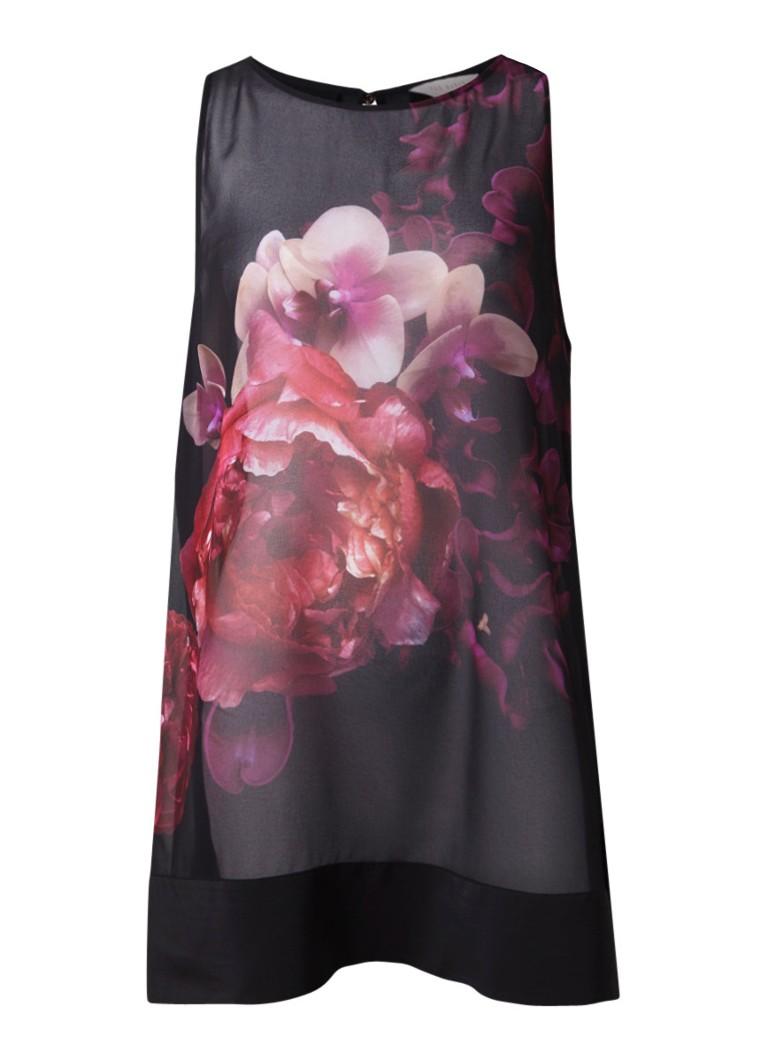 Ted Baker Telbaa semi-transparante midi-jurk met bloemendessin en keyhole zwart