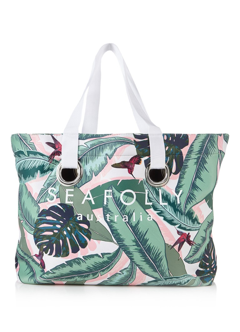 Seafolly Carried Away strandtas met tropisch dessin