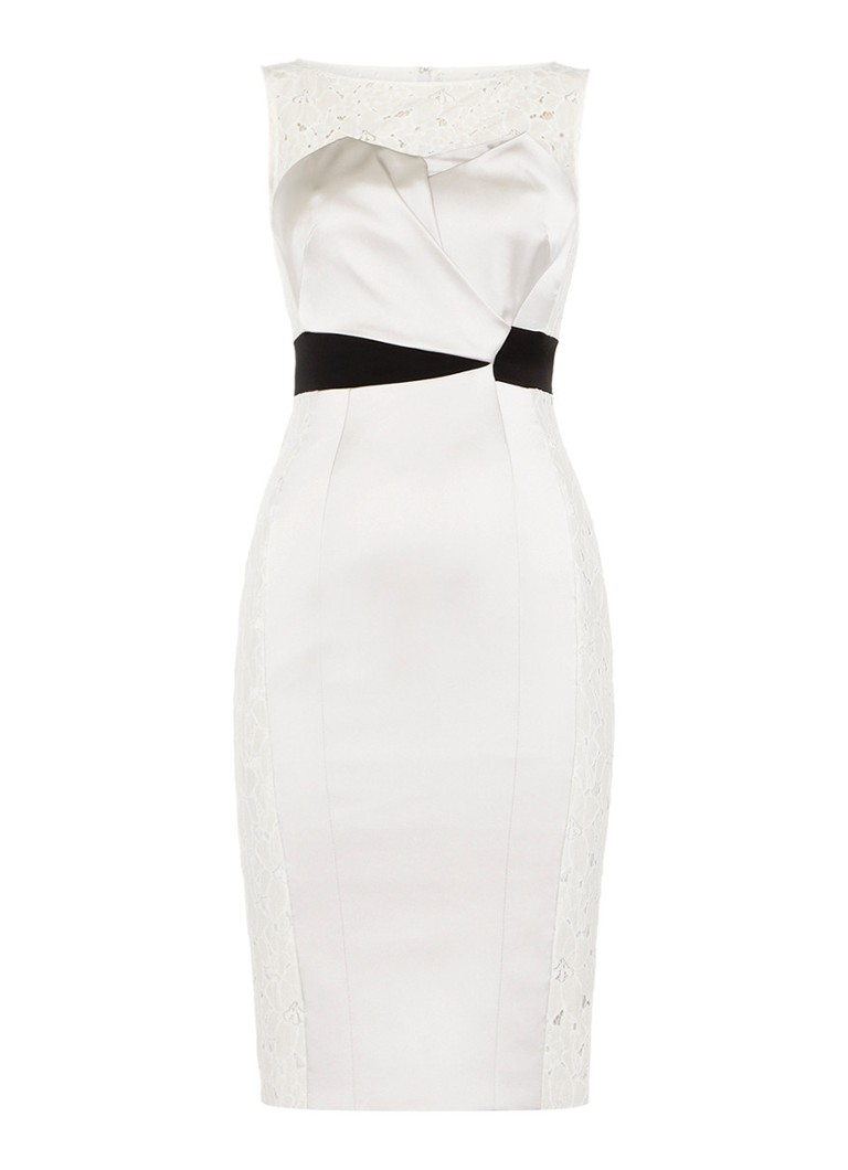 Karen Millen Strakke jurk Tuxedo met broderie accenten ivoor