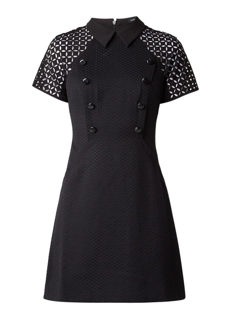 Karen Millen Mini-jurk met structuur en opengewerkte details zwart