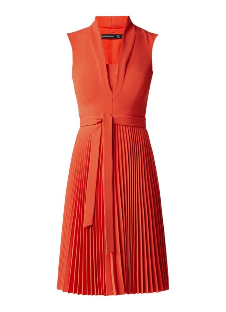 Karen Millen A-lijn jurk met plooien en strikceintuur rood