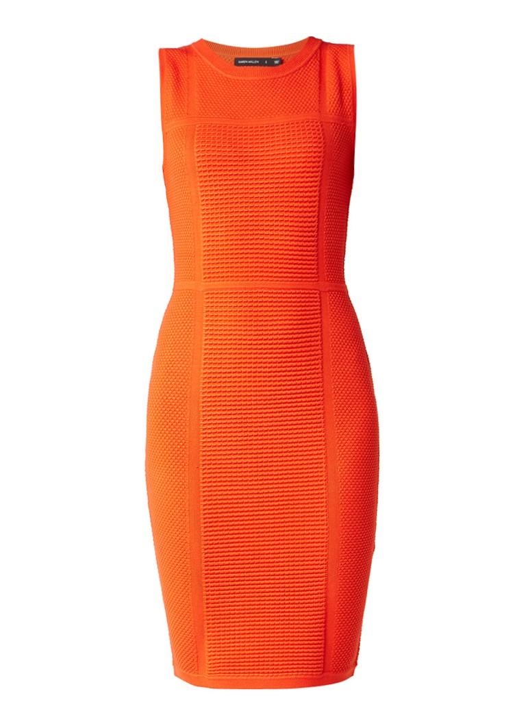 Karen Millen Fijngebreide midi-jurk met jacquarddessin oranjerood