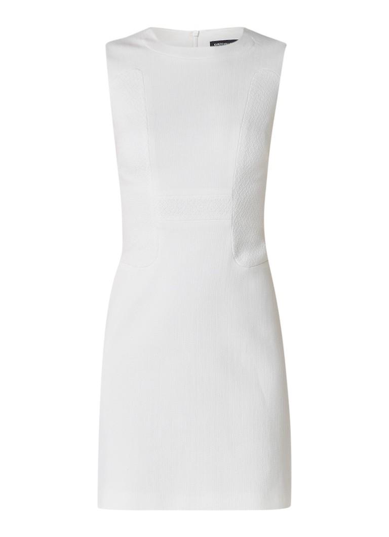 Karen Millen Kokerjurk van katoen met textuur gebroken wit
