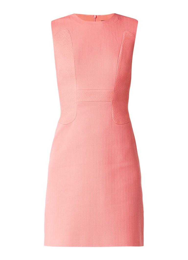 Karen Millen Aansluitende jurk met ingeweven details van katoen koraalroze