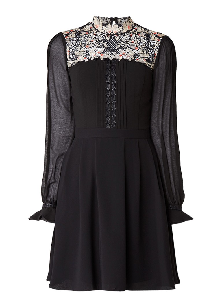 Karen Millen A-lijn jurk met bovenzijde van kant en opstaand kraagje zwart