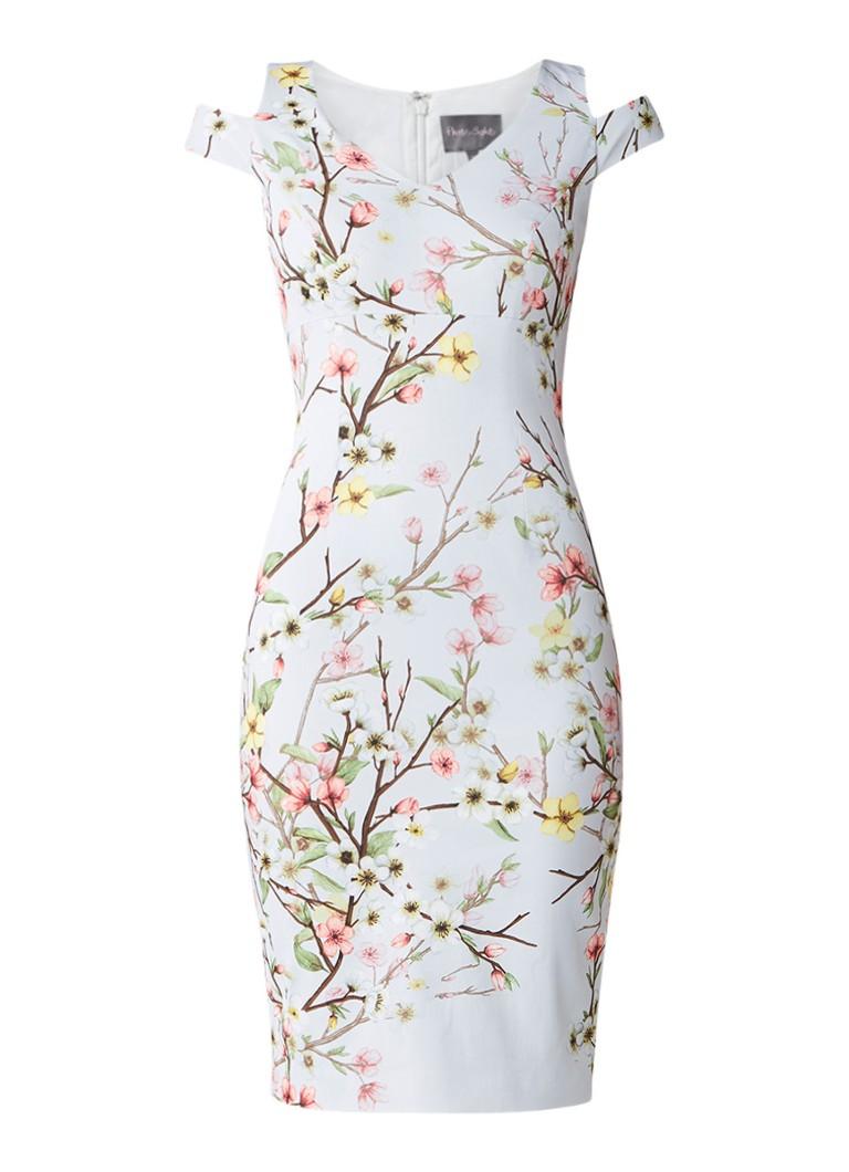 Karen Millen Cold shoulder midi-jurk met bloemendessin lichtblauw