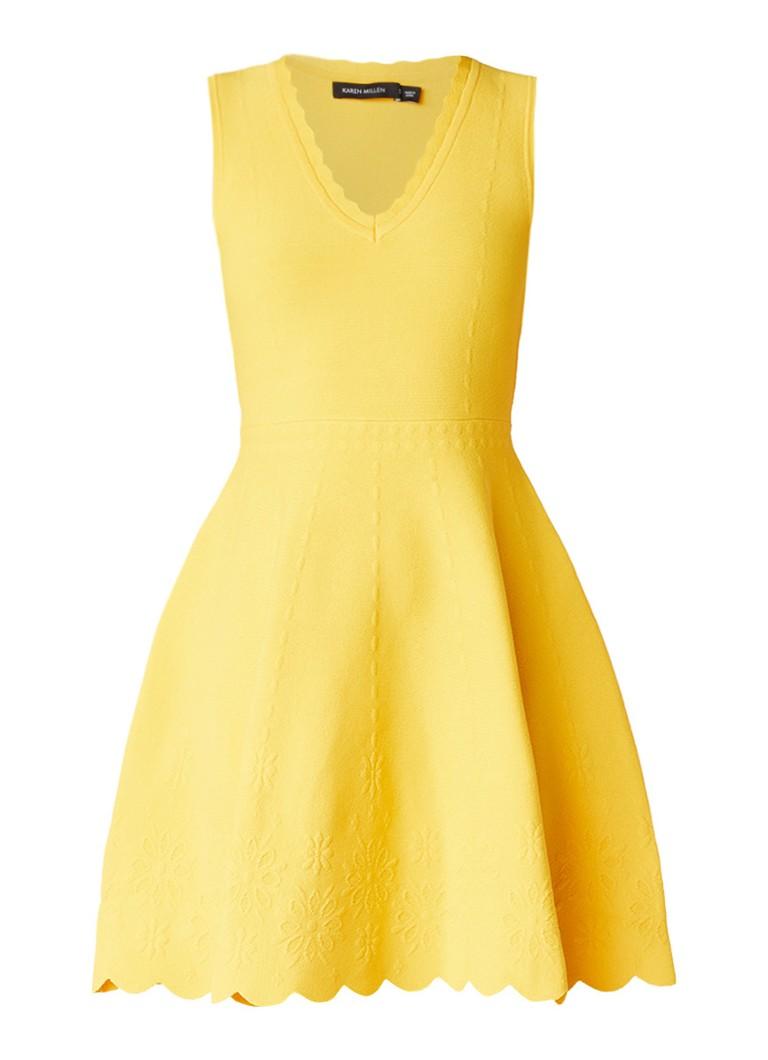 Karen Millen A-lijn jurk met ingebreid dessin geel