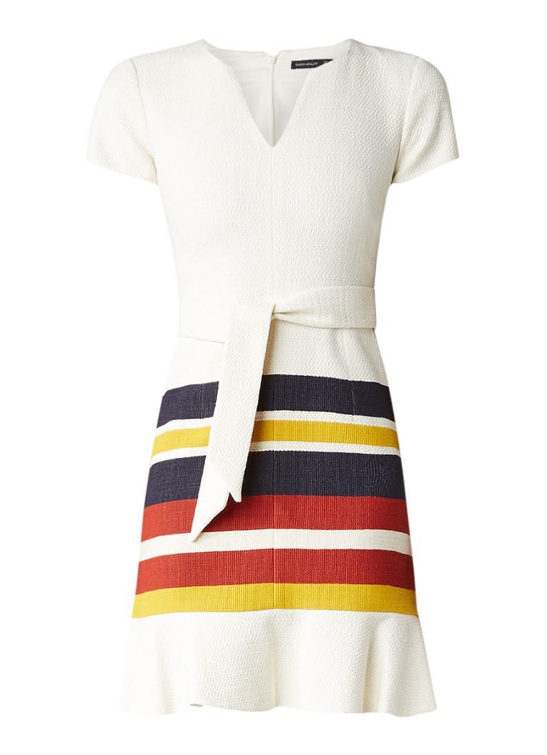 Karen Millen Tweed A-lijn jurk met streepdetails en strikceintuur gebroken wit
