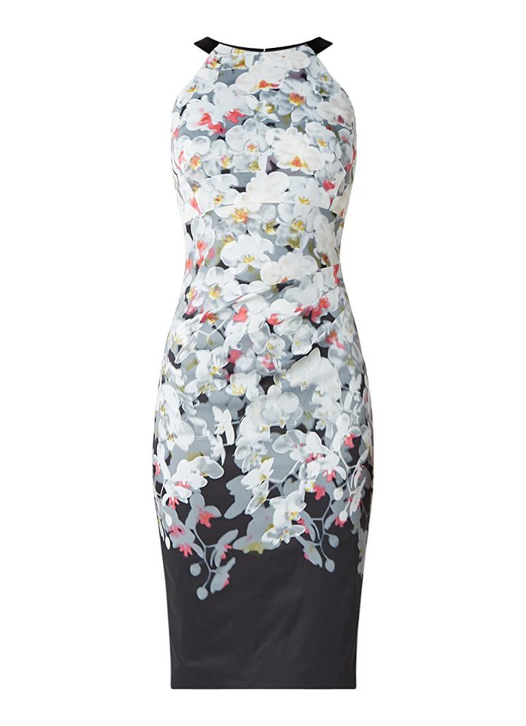 Karen Millen Kokerjurk met bloemendessin en kanten detail multicolor