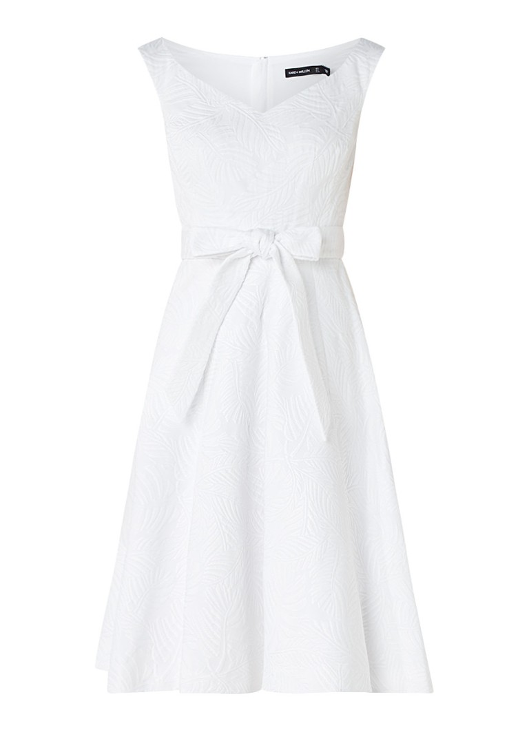 Karen Millen Jacquard A-lijn jurk met tailleceintuur wit