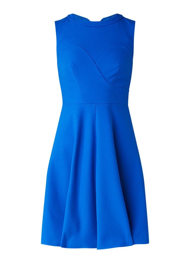 Karen Millen Mouwloze A-lijn jurk met deelnaden kobaltblauw