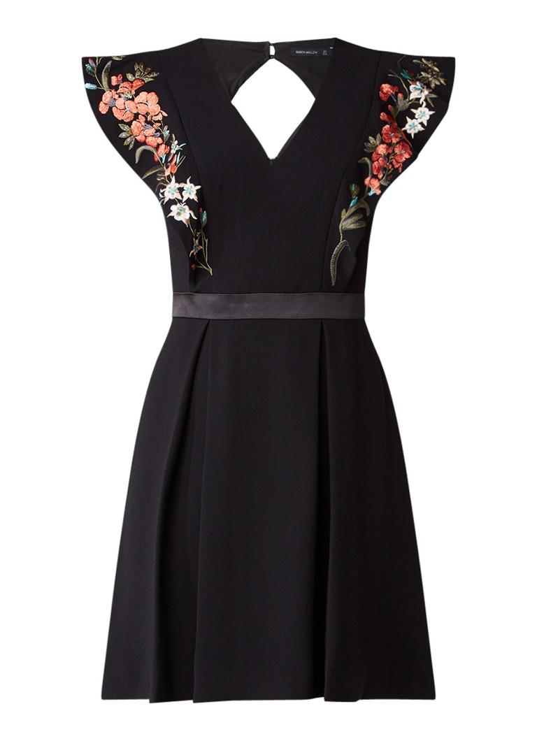 Karen Millen A-lijn jurk met geborduurde volantmouw zwart