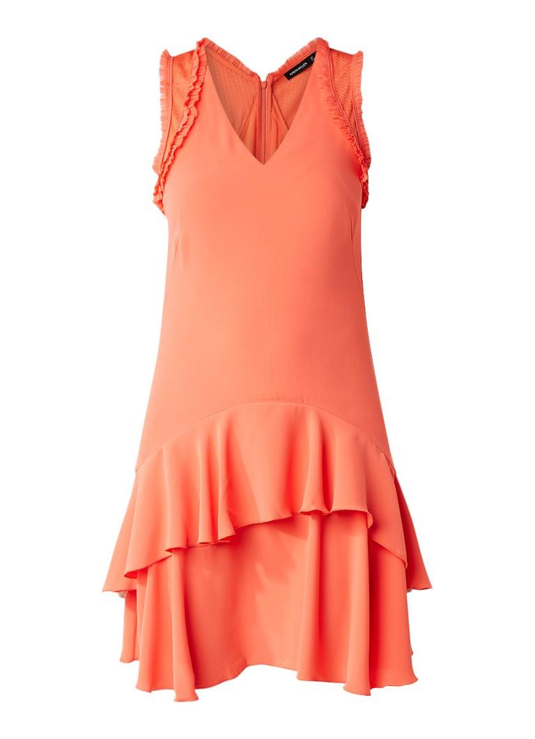 Karen Millen A-lijn jurk met ruches en opengewerkte details oranje