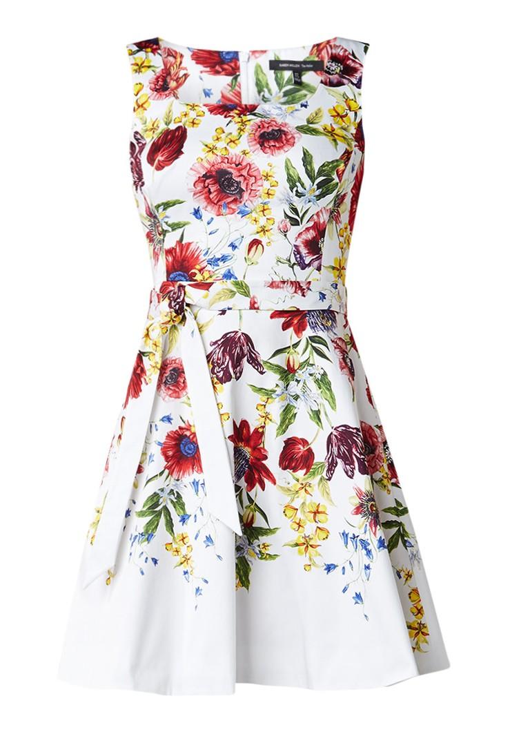 Karen Millen A-lijn jurk met bloemendessin en tailleceintuur wit