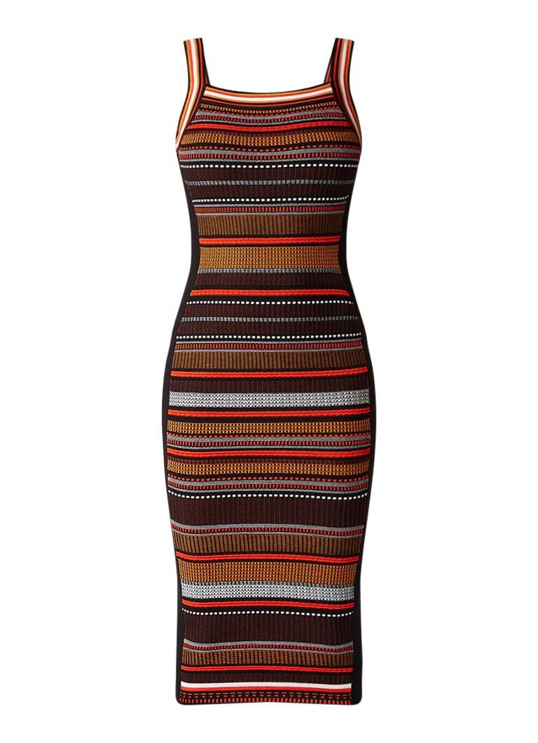 Karen Millen Bodycon midi-jurk met ingebreid dessin rood