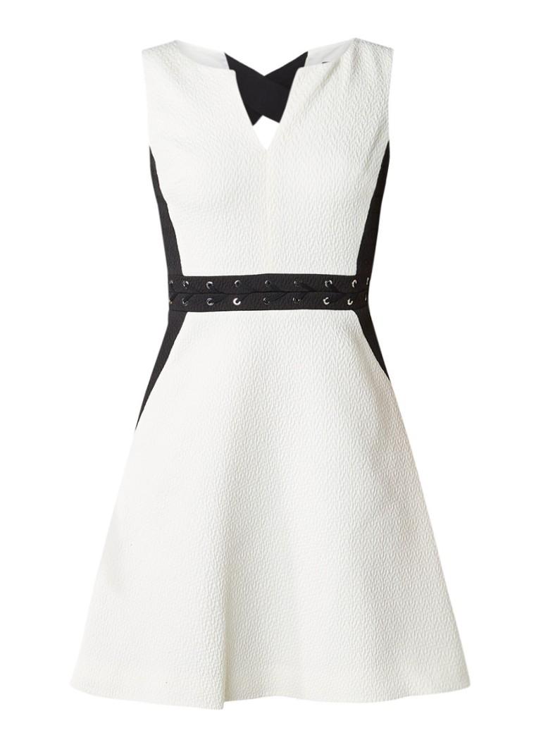 Karen Millen A-lijn jurk met textuur en eyelets gebroken wit
