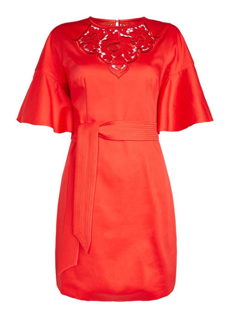 Karen Millen Floral cutwork jurk met flared mouw en ceintuur rood