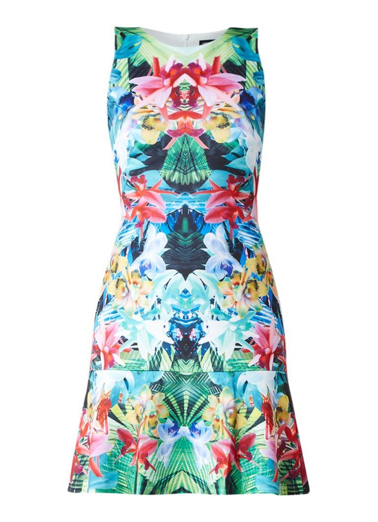 Karen Millen Mouwloze A-lijn jurk met grafisch bloemdessin multicolor
