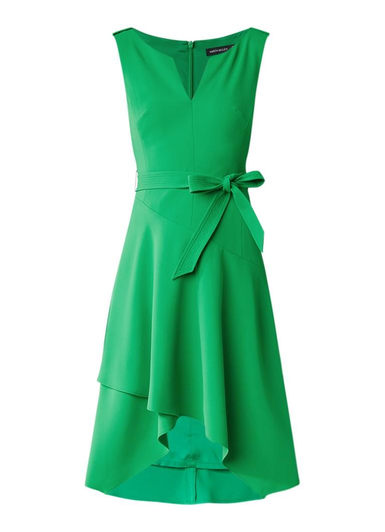 Karen Millen Fluid A-lijn jurk met ceintuur groen