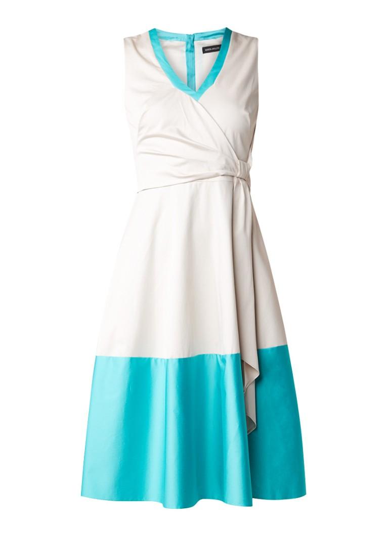 Karen Millen A-lijn jurk met strikdetail in taille aquablauw