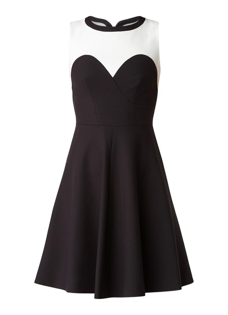 Karen Millen A-lijn jurk met contrasterende inzet zwart