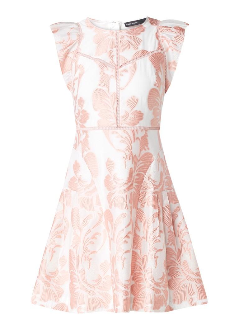 Karen Millen A-lijn jurk met jacquarddessin en volantmouw roze