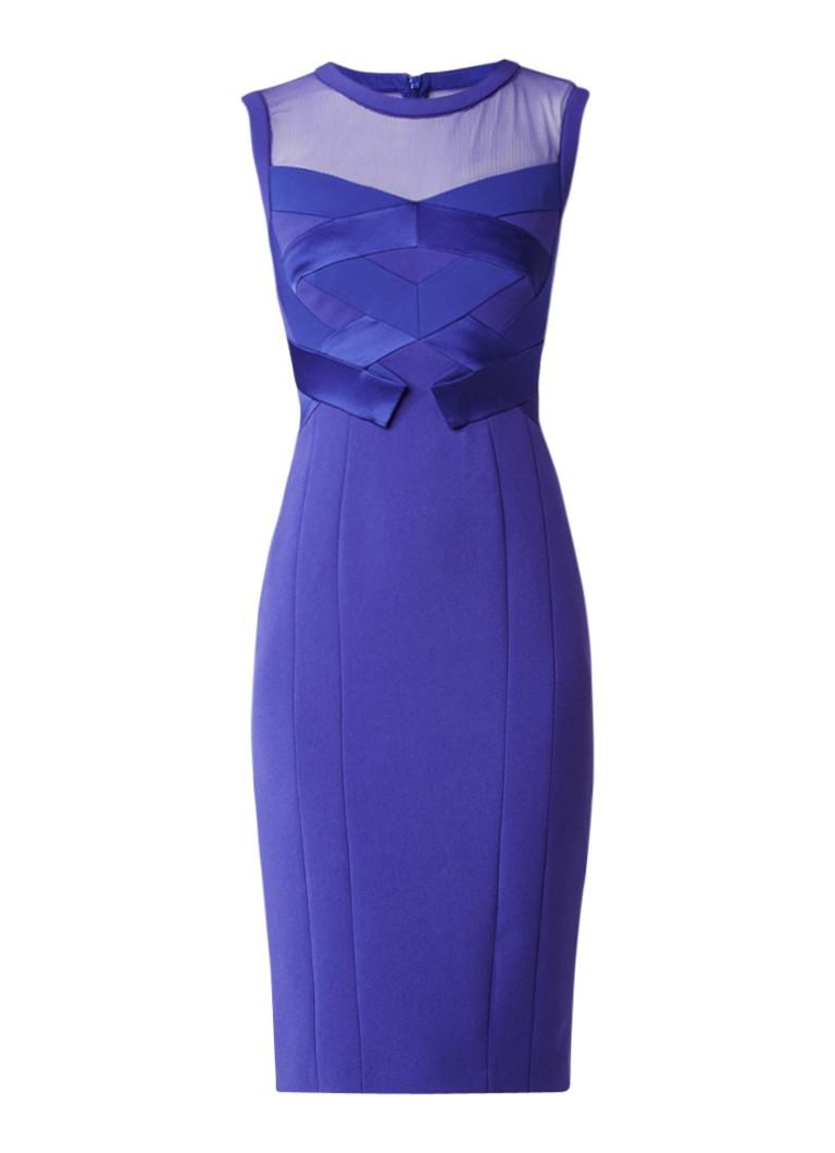 Karen Millen Midi-jurk met mesh en details van satijn royalblauw