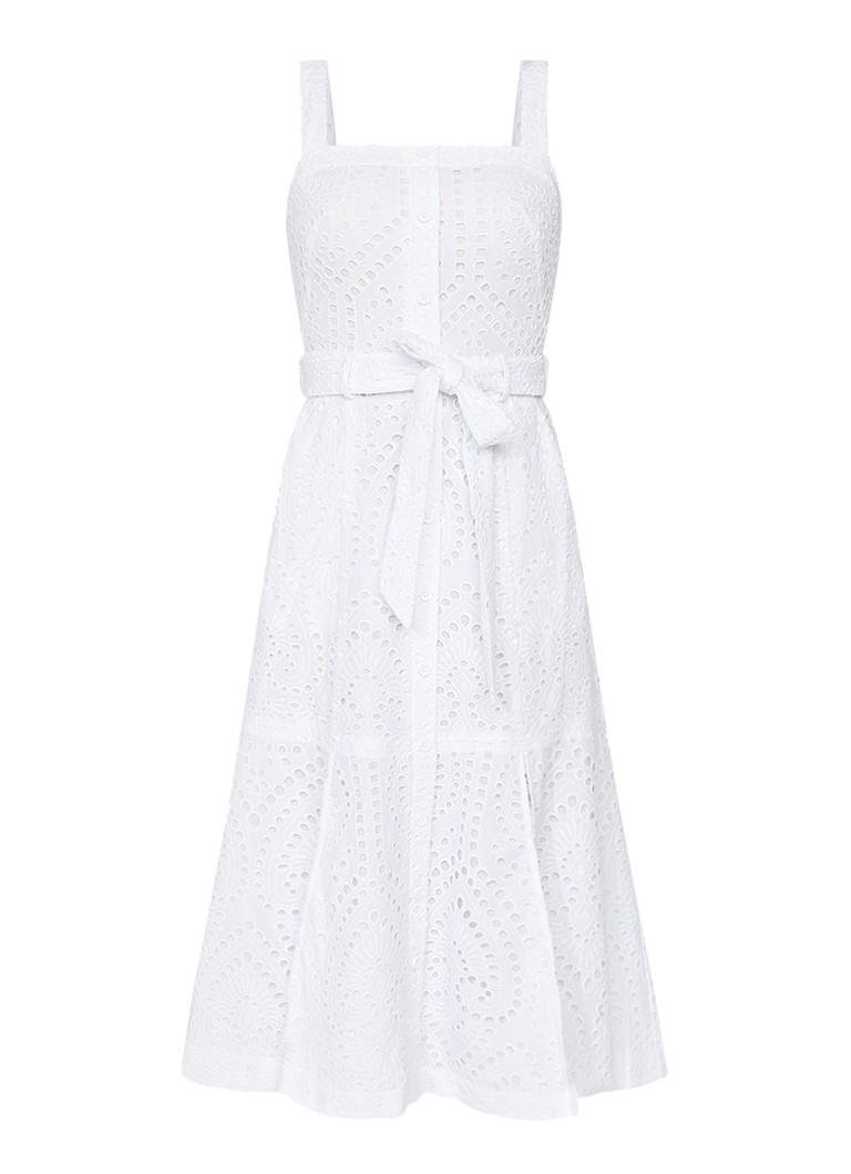 Karen Millen A-lijn jurk met broderie en strikceintuur wit