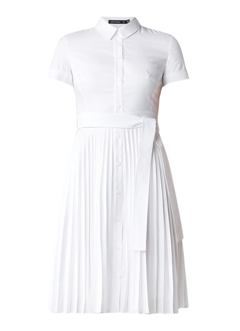 Karen Millen Blousejurk met plissérok en ceintuur wit