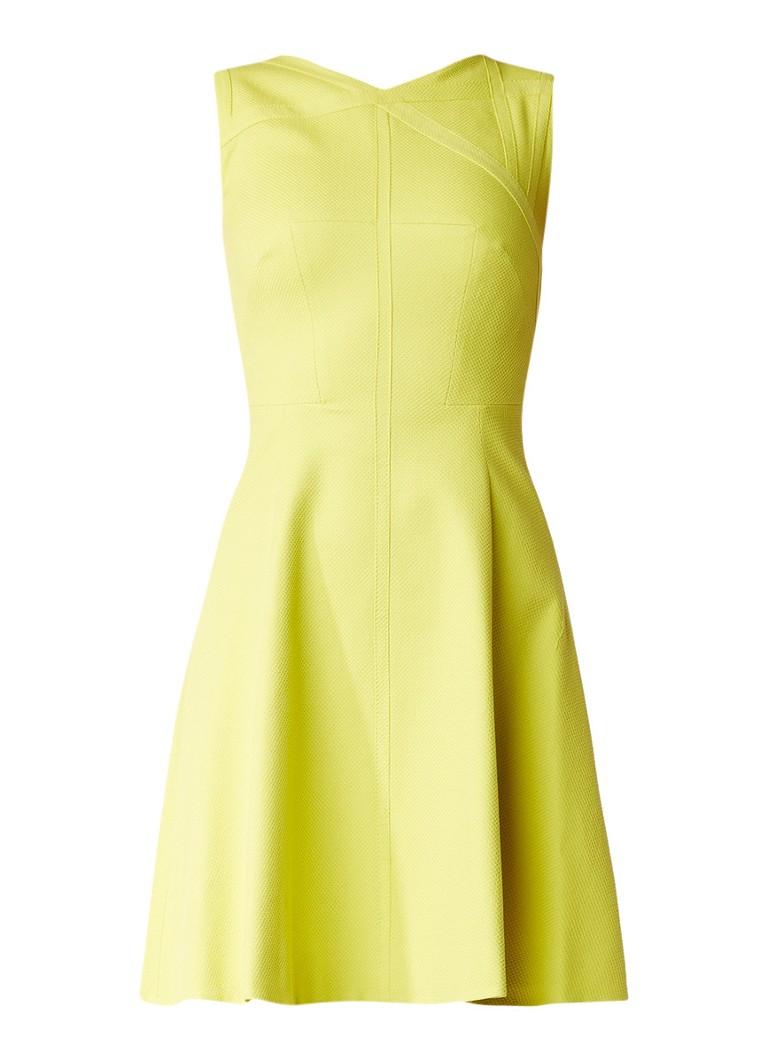 Karen Millen A-lijn jurk van katoen met grafische structuur lime