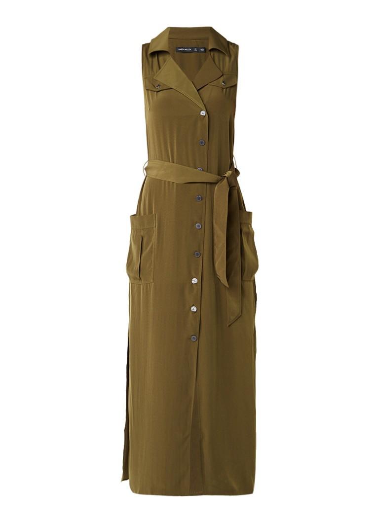 Karen Millen Safari maxi blousejurk met strikceintuur en split olijfgroen