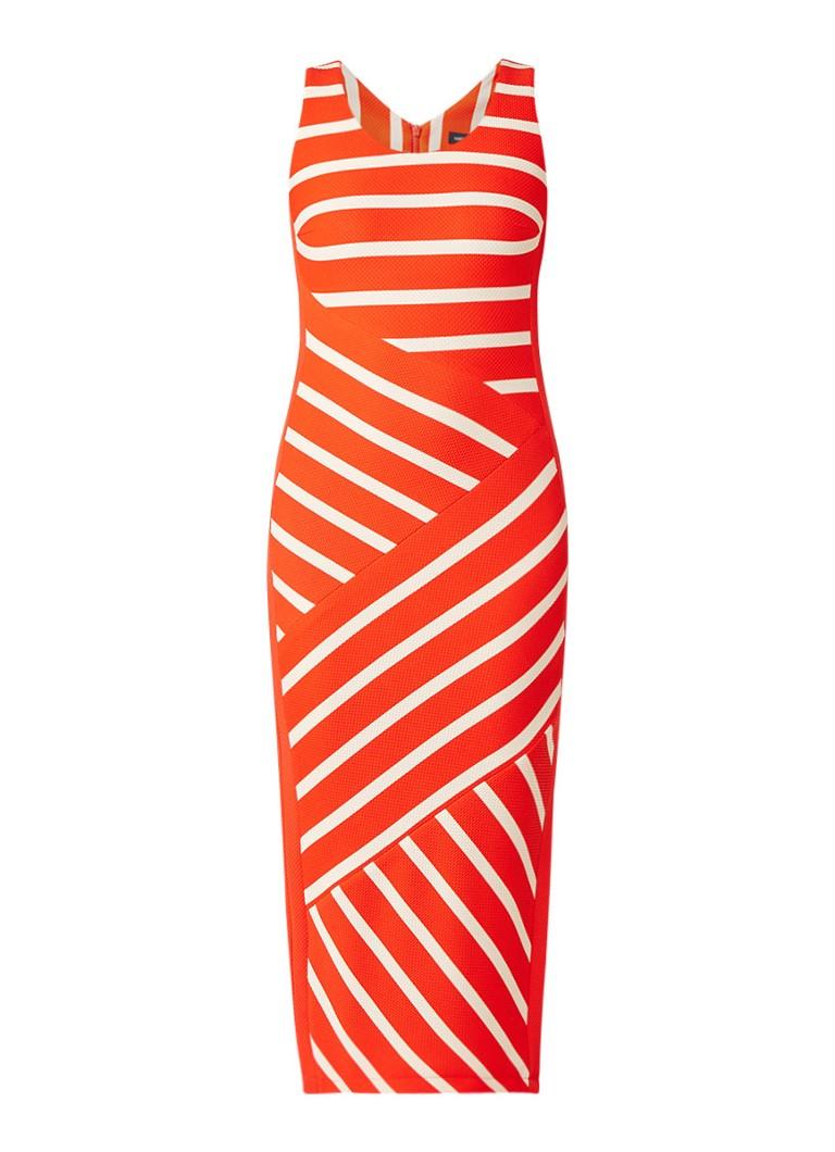 Karen Millen Kokerjurk met gestreept dessin en split oranje