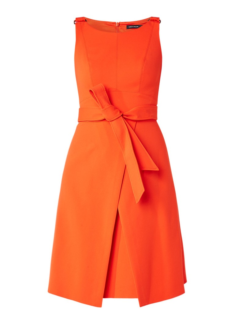 Karen Millen A-lijn jurk met overslag en strikceintuur oranjerood