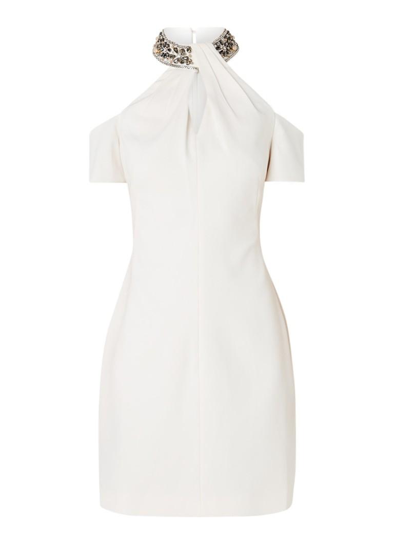 Karen Millen Cold shoulder jurk met gedecoreerde halslijn creme