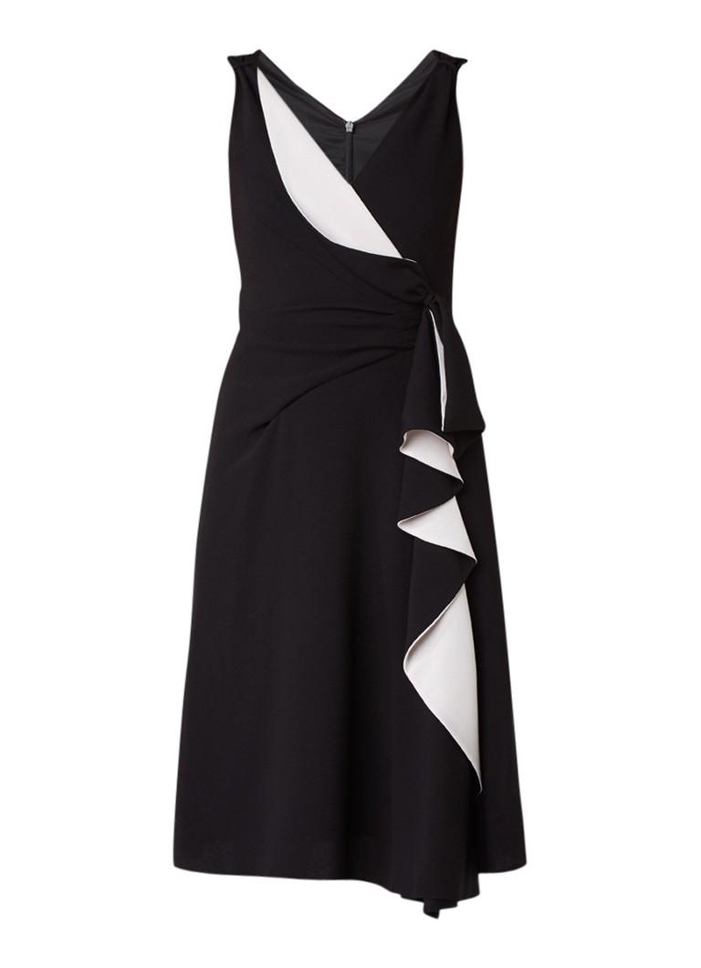 Karen Millen A-lijn wikkeljurk met contrastvoering zwart
