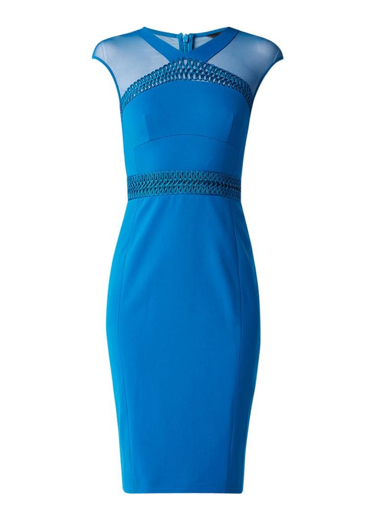 Karen Millen Kokerjurk met inzet van mesh en gevlochten details blauw