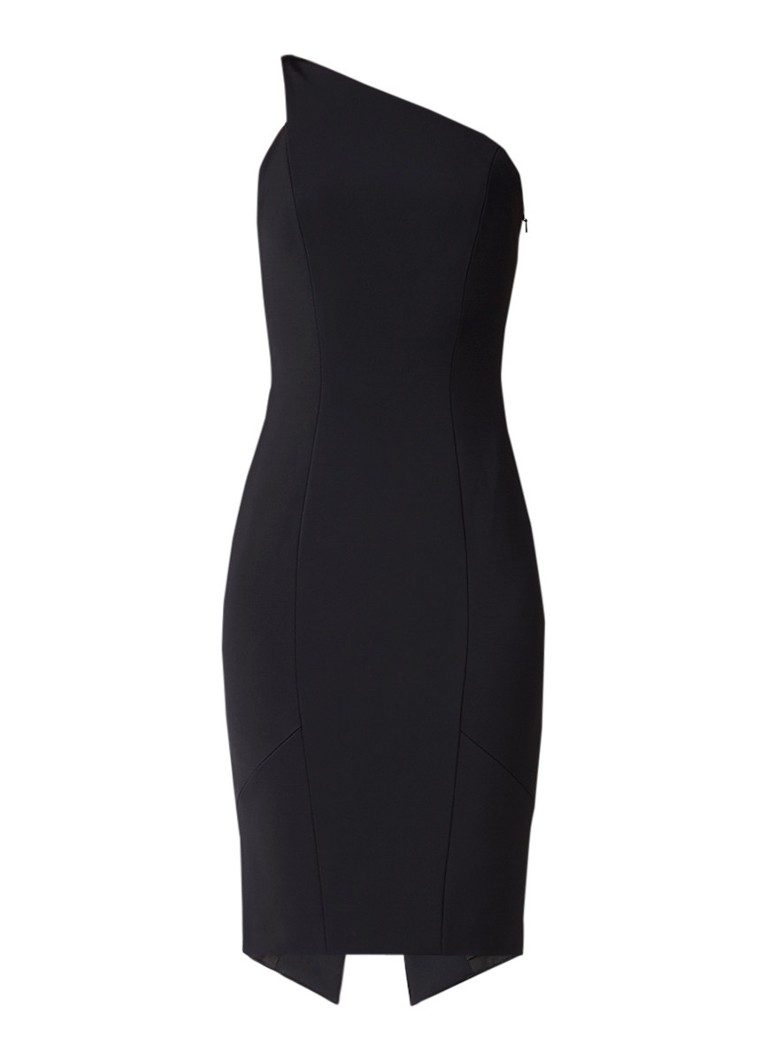 Karen Millen One shoulder kokerjurk met split zwart