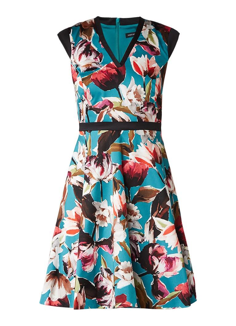 Karen Millen A-lijn jurk van katoen met bloemendessin turquoise