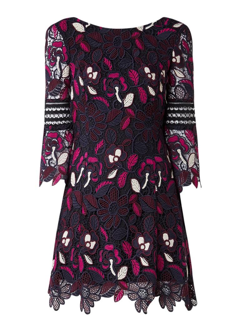 Karen Millen Mini-jurk van broderie kant fuchsia
