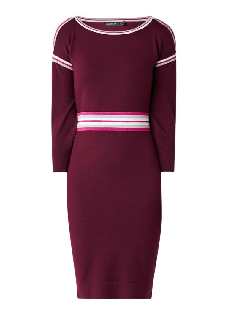 Karen Millen Gebreide cold shoulder jurk met contrasterende boorden royalblauw