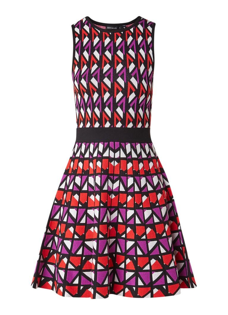 Karen Millen Colle gebreide A-lijn jurk met geometrisch dessin rood
