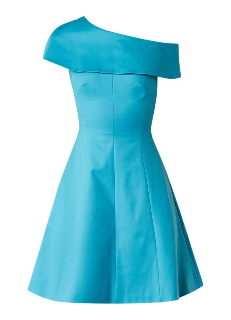 Karen Millen One shoulder jurk met volant turquoise