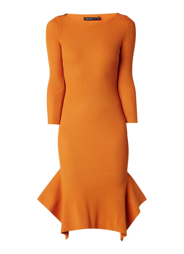 Karen Millen Ribgebreide midi-jurk met volant oranje